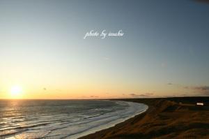 落石海岸三里浜からの夕景